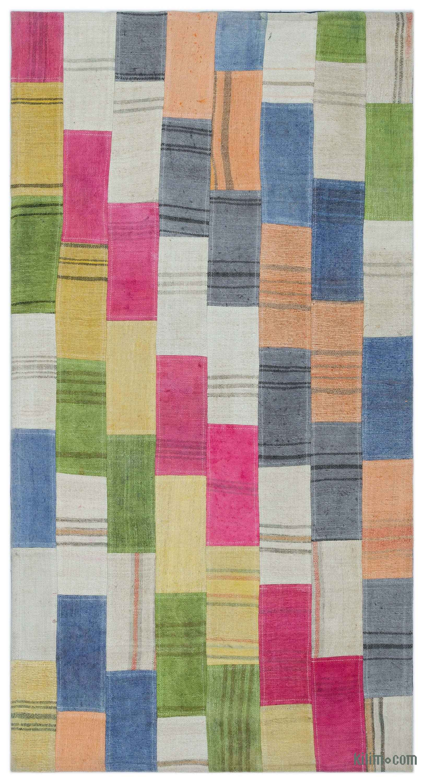 Over Dyed Patchwork Kilim Rug