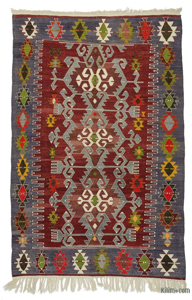 k0027281 red blue vintage ushak kilim rug 6 39 3 39 39 x 9 39 6 39 39 75 in x 114 in. Black Bedroom Furniture Sets. Home Design Ideas