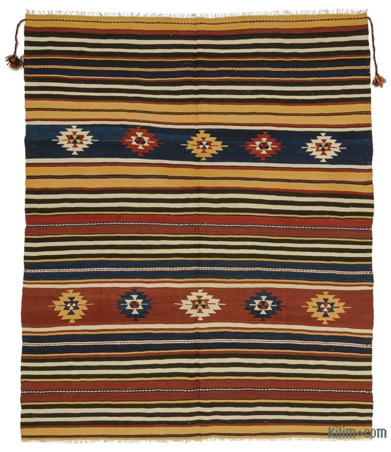 K0027282 Multicolor Vintage Manastir Kilim Rug