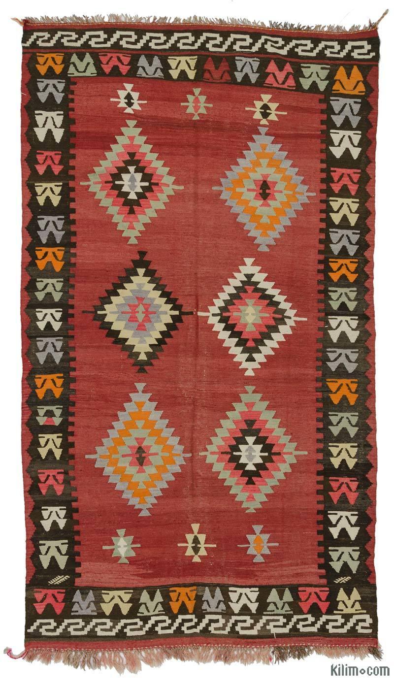 K0027291 Red Vintage Eskisehir Kilim Rug 5 9 X 10 69