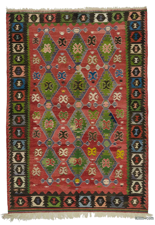 Rug And Kilim k0027292 green vintage manisa kilim rug