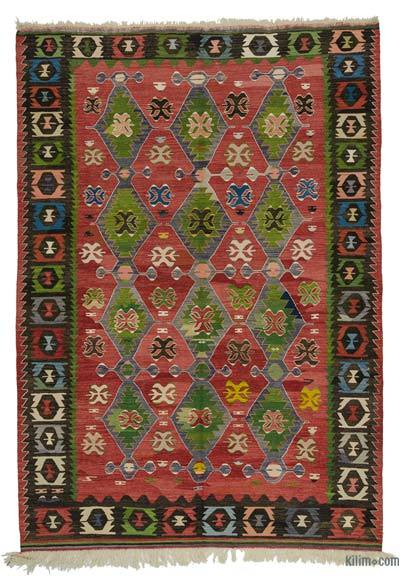 Red, Green Vintage Manisa Kilim Rug - 6'7'' x 9'6'' (79 in. x 114 in.)