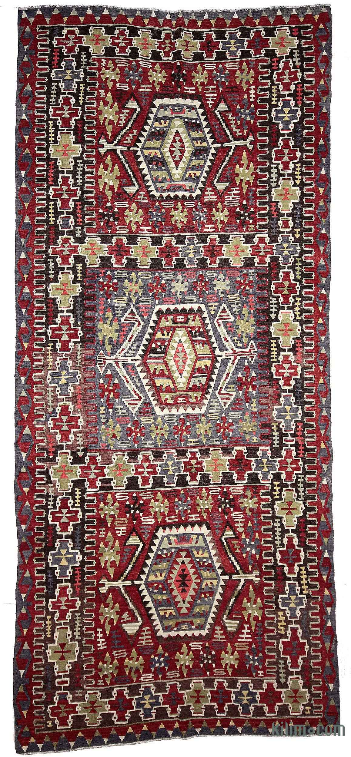 Red Light Blue Vintage Esme Kilim Rug 5 4 X 12 64 In 144
