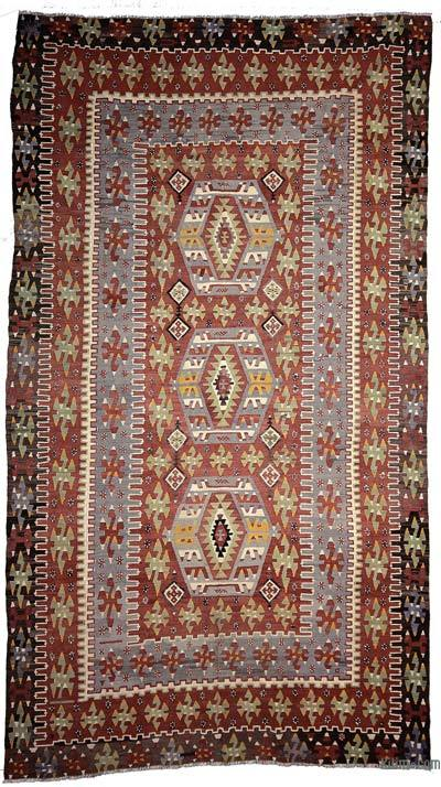 Red, Light Blue Vintage Esme Kilim Rug - 5'7'' x 9'8'' (67 in. x 116 in.)