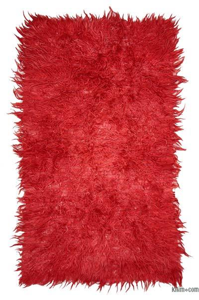 Red Vintage Turkish Tulu Rug - 3'9'' x 6'7'' (45 in. x 79 in.)