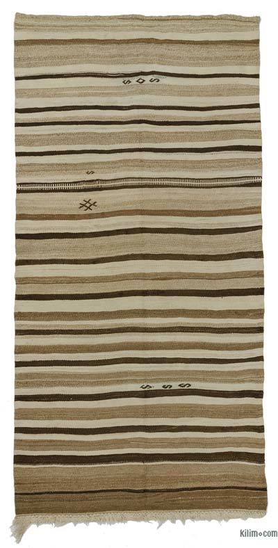 Brown, Beige Vintage Turkish Kilim Rug - 4'7'' x 9'2'' (55 in. x 110 in.)