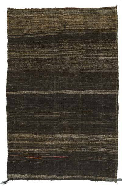 Brown Vintage Turkish Kilim Rug - 6'11'' x 11' (83 in. x 132 in.)