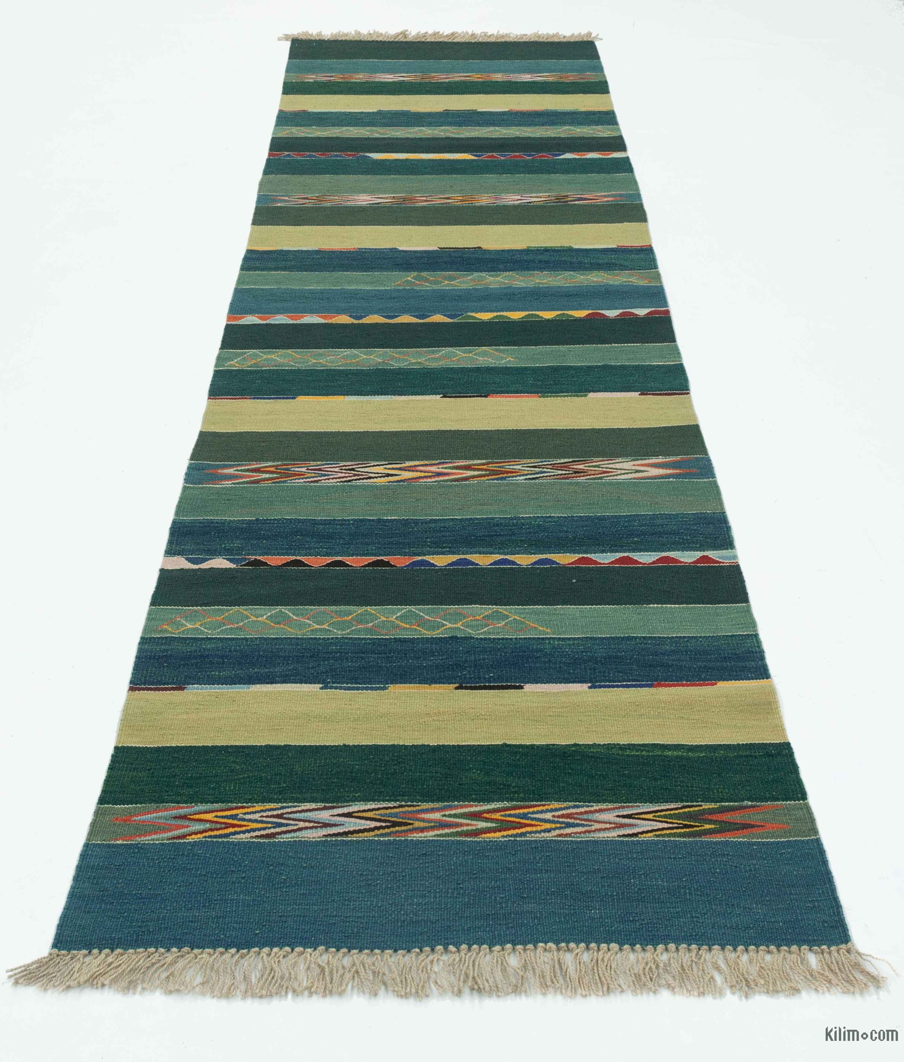 K0027675 Blue, Green New Turkish Kilim Runner