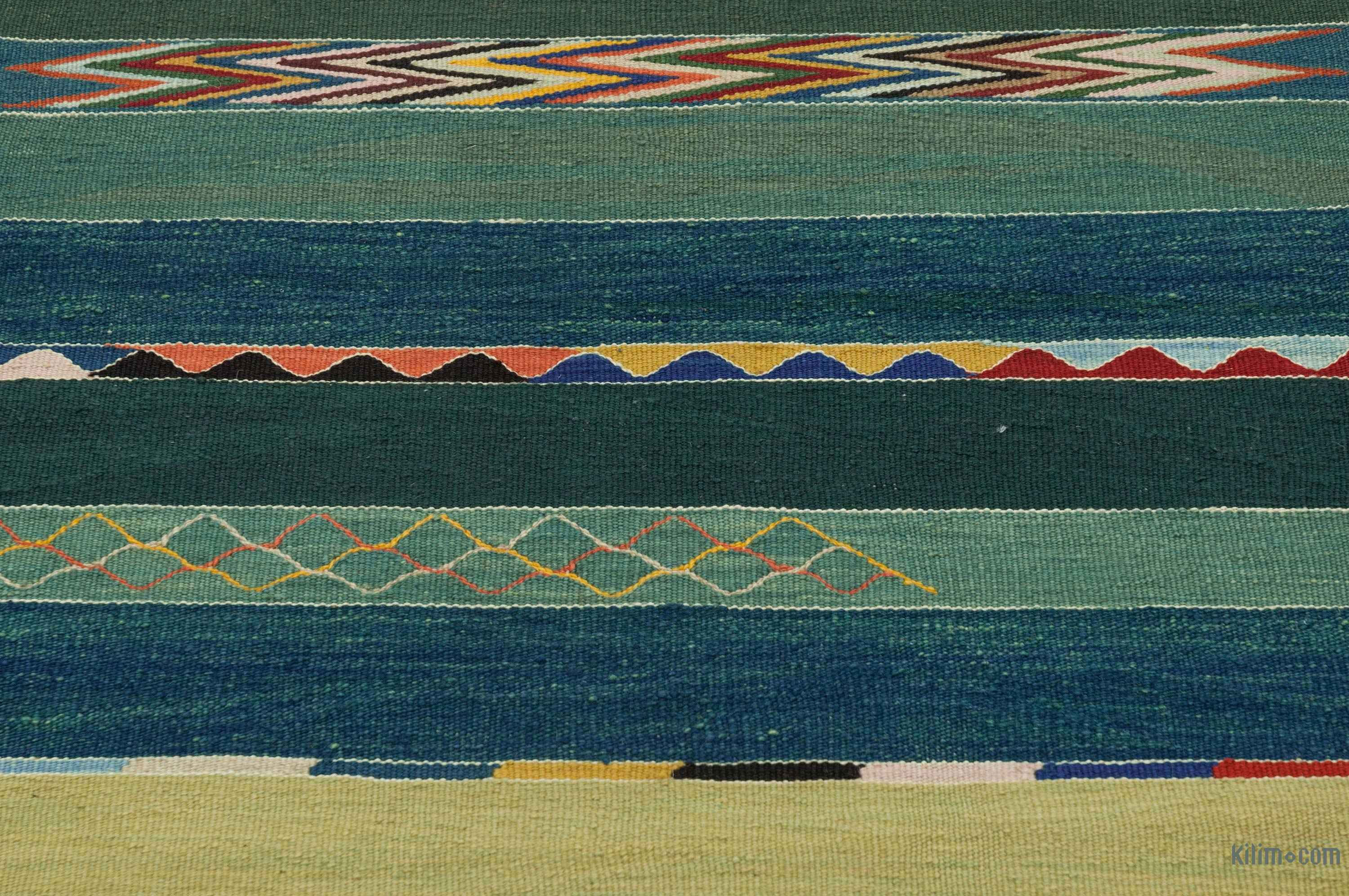 K0027675 Blue Green New Turkish Kilim Runner