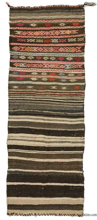 Brown Vintage Turkish Kilim Runner - 2'8'' x 7'3'' (32 in. x 87 in.)