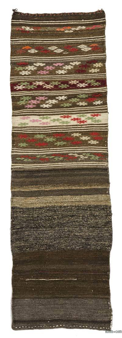 Brown Vintage Turkish Kilim Runner - 2'4'' x 7' (28 in. x 84 in.)