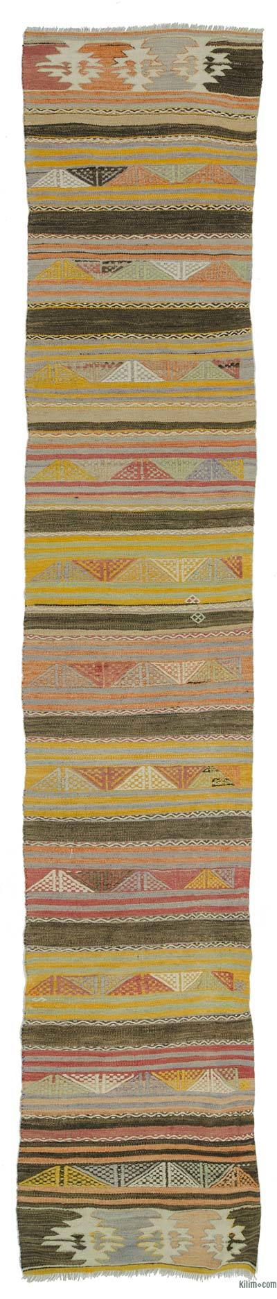 Multicolor Vintage Sivas Kilim Runner - 2'7'' x 12'10'' (31 in. x 154 in.)