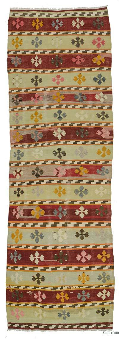 Red, Green Vintage Afyon Kilim Runner - 3'10'' x 11'4'' (46 in. x 136 in.)