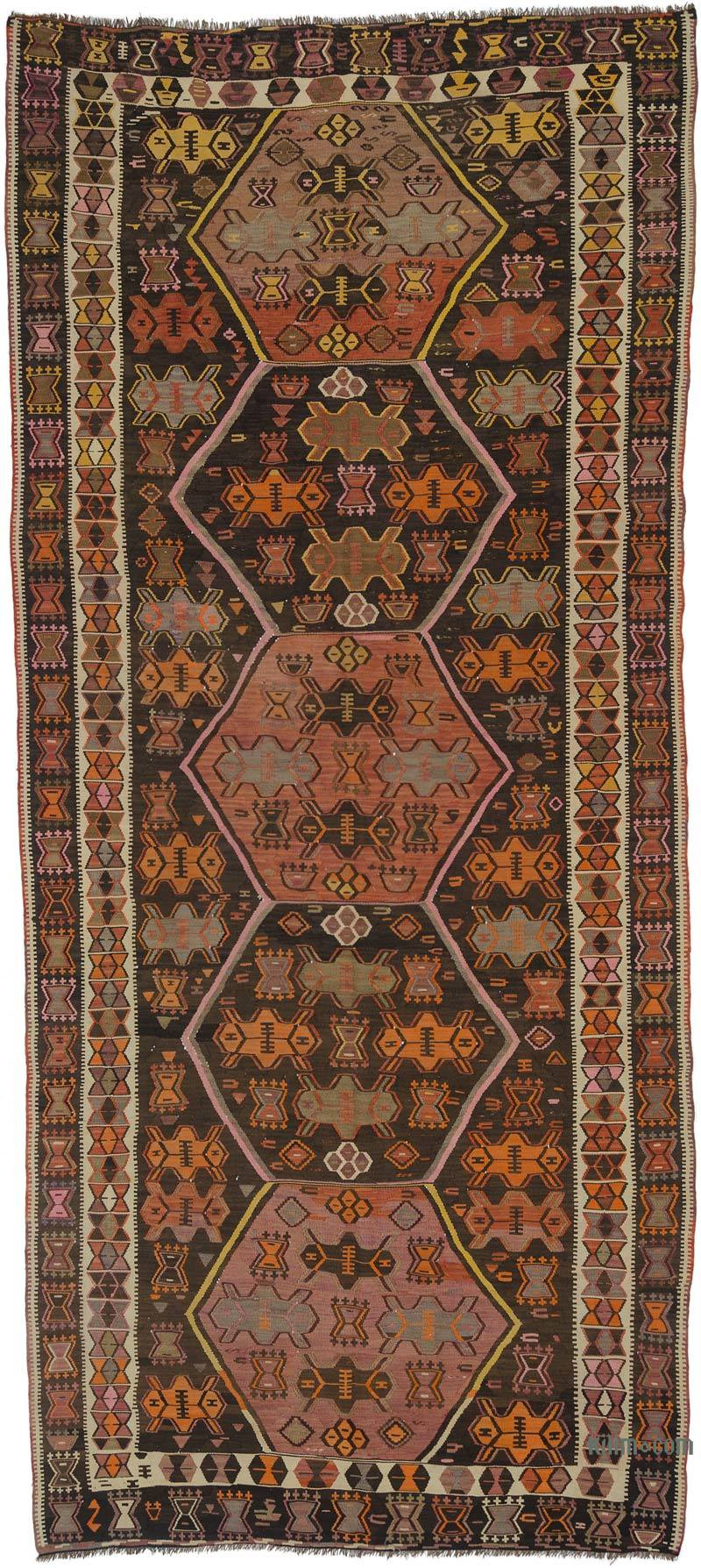 K0027768 Brown Red Vintage Kars Kilim Rug 5 5 X 12 6