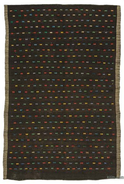 Brown Vintage Turkish Kilim Rug - 6'4'' x 9'9'' (76 in. x 117 in.)