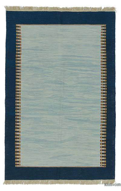 Light Blue, Blue New Turkish Kilim Rug