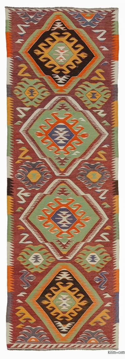 Red, Green Vintage Mut Kilim Runner - 3'2'' x 9'8'' (38 in. x 116 in.)
