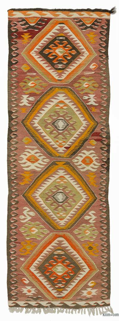 Red Vintage Mut Kilim Runner - 2'8'' x 8'2'' (32 in. x 98 in.)