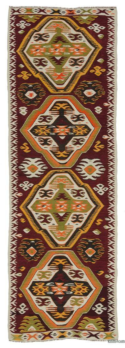 Red Vintage Mut Kilim Runner - 2'11'' x 9' (35 in. x 108 in.)