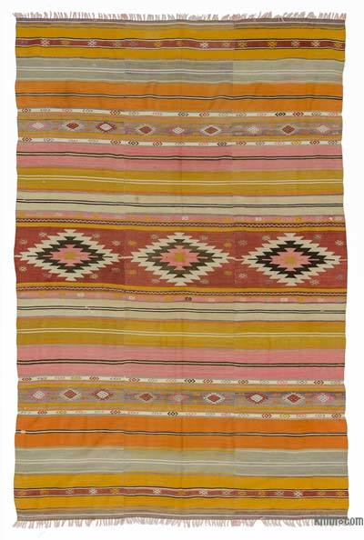 Multicolor Vintage Turkish Kilim Rug - 5'6'' x 8' (66 in. x 96 in.)