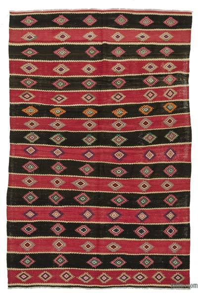 Brown, Red Vintage Ushak Kilim Rug - 6'11'' x 10'6'' (83 in. x 126 in.)