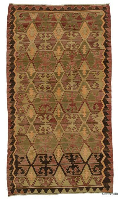 Red, Green Vintage Konya Kilim Rug - 5'11'' x 10'5'' (71 in. x 125 in.)