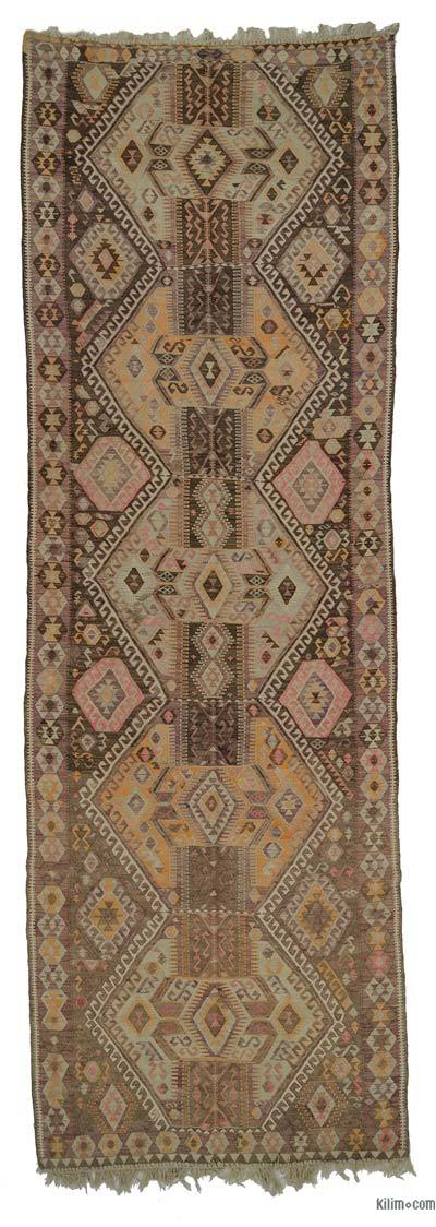 Multicolor Vintage Kars Kilim Runner - 4'11'' x 14'5'' (59 in. x 173 in.)