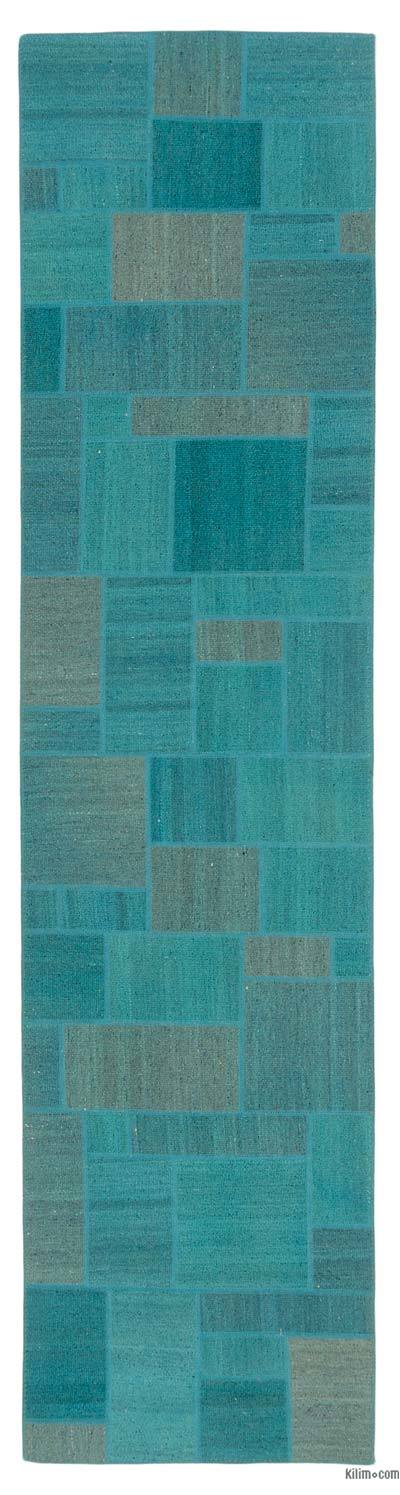 Turquoise Over-dyed Kilim Patchwork Runner - 2'7'' x 10'4'' (31 in. x 124 in.)