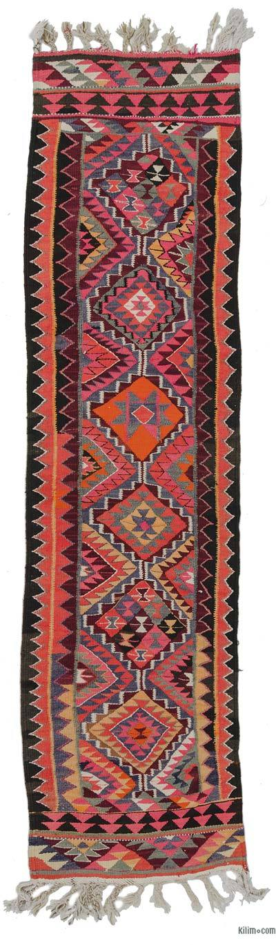 Multicolor Vintage Herki Kilim Runner - 2'9'' x 10'10'' (33 in. x 130 in.)