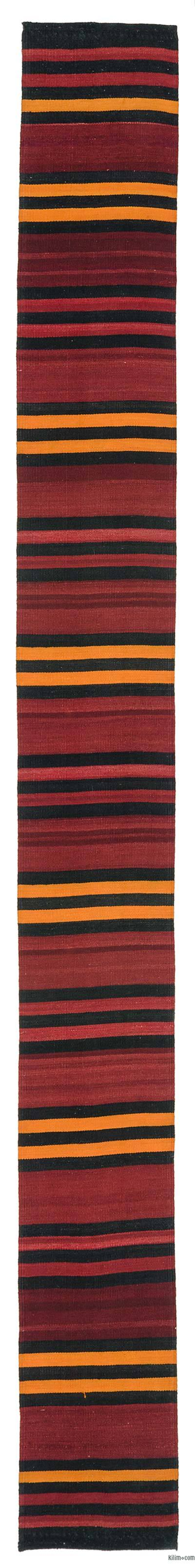 Red Vintage Turkish Kilim Rug  - 1'10'' x 15'4'' (22 in. x 184 in.)