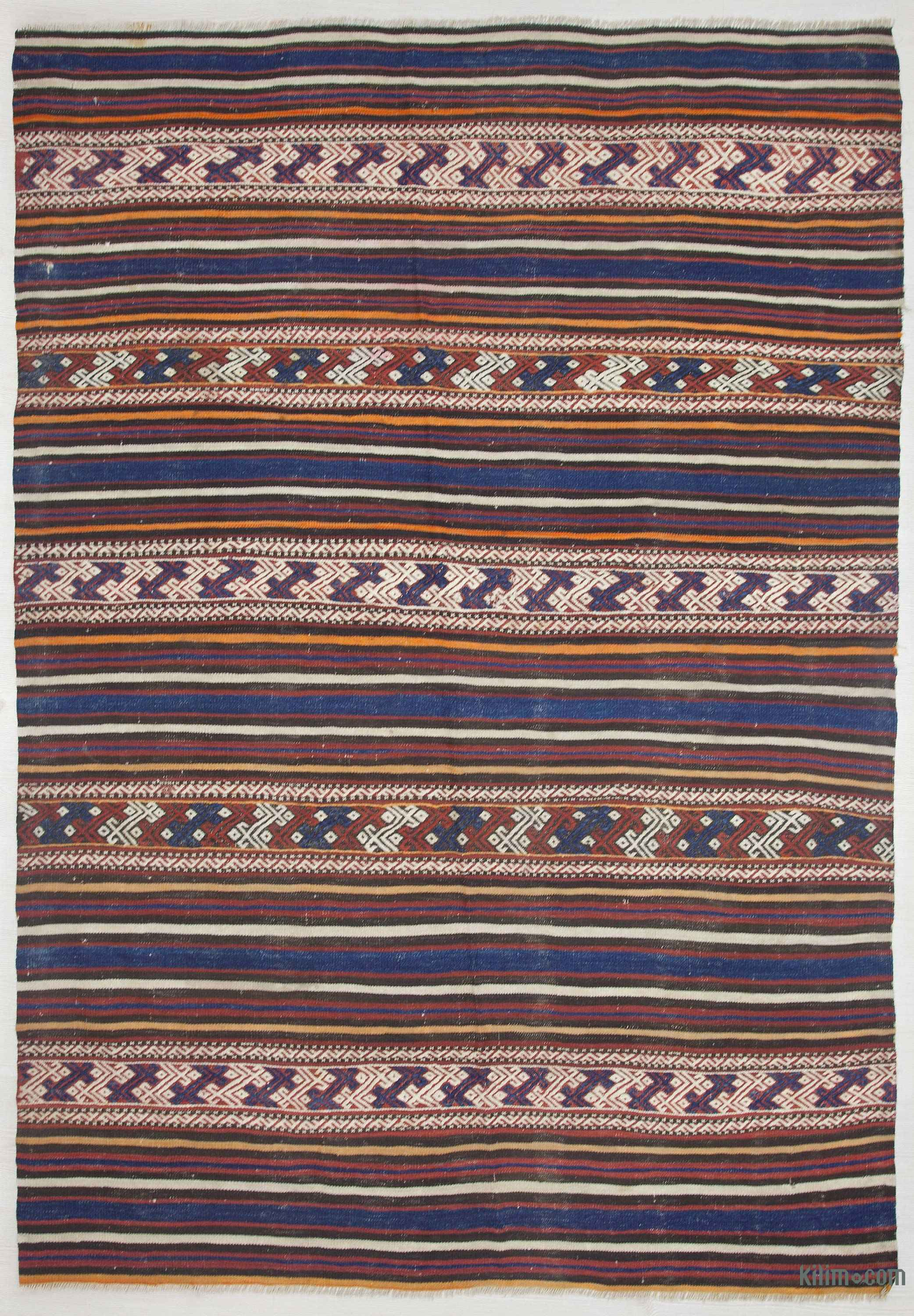 Blue Red Vintage Balikesir Kilim Rug 4 8 X 6 56 In 80