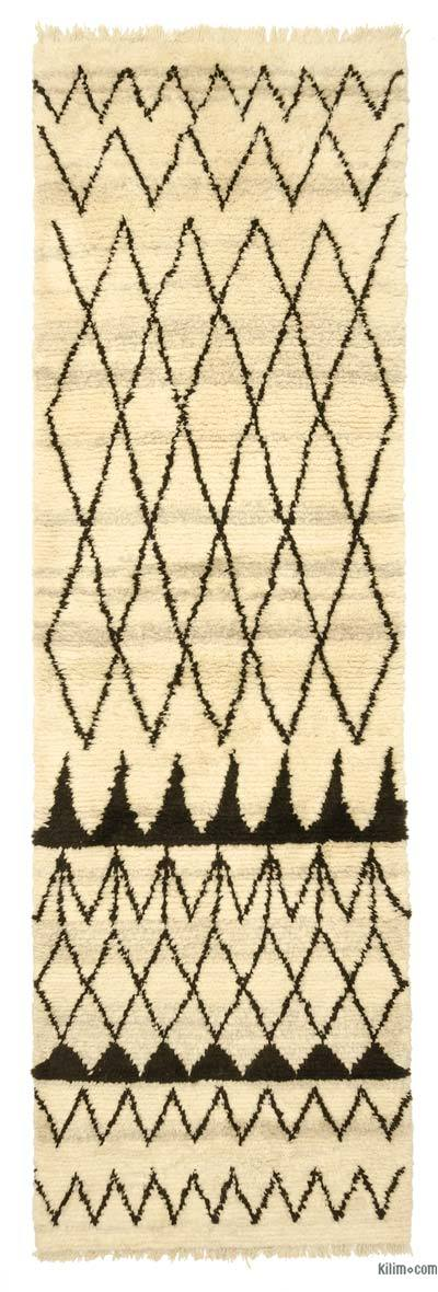 Beige, Brown New Turkish Tulu Rug - 4' x 13' (48 in. x 156 in.)