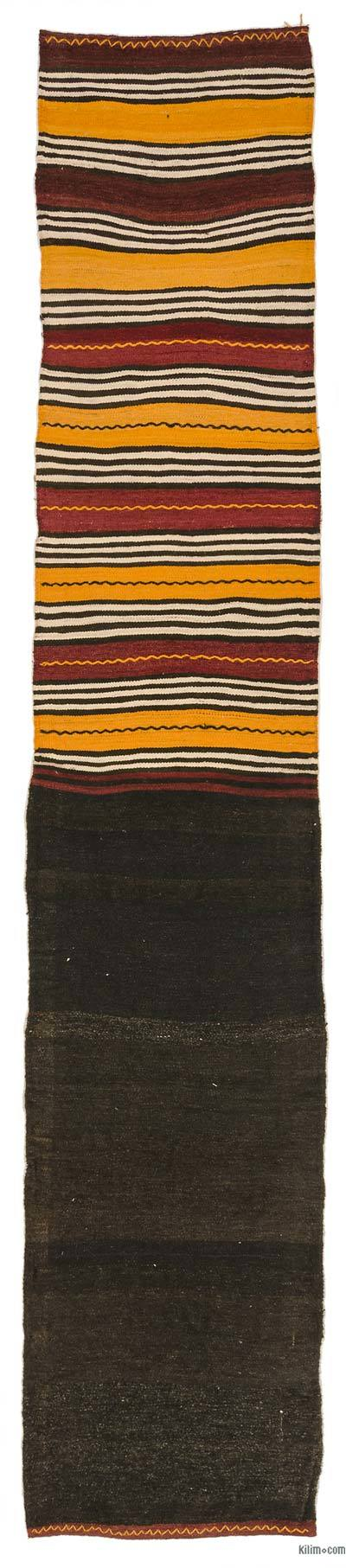 Brown Vintage Turkish Kilim Runner - 2'2'' x 10'8'' (26 in. x 128 in.)