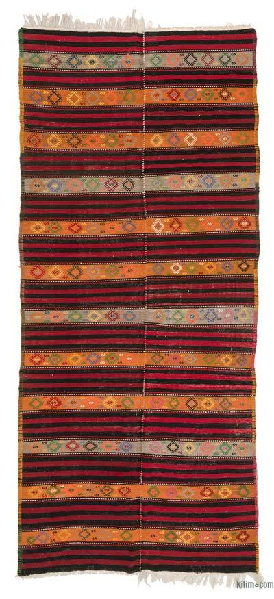 Multicolor Vintage Turkish Kilim Rug - 5'3'' x 12'7'' (63 in. x 151 in.)