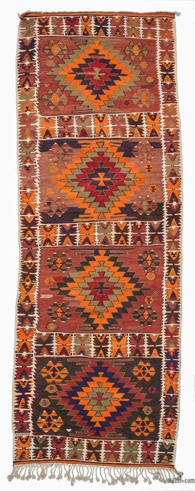 Multicolor Vintage Turkish Kilim Rug - 5'1'' x 14'5'' (61 in. x 173 in.)