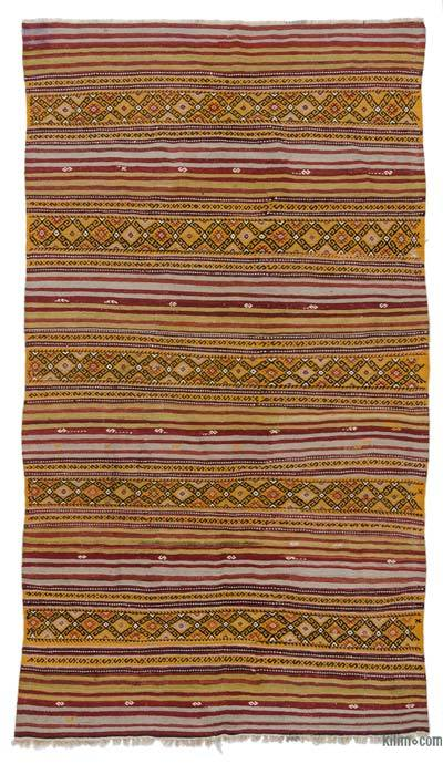 Red, Yellow Vintage Balikesir Kilim Rug - 5'6'' x 9'9'' (66 in. x 117 in.)