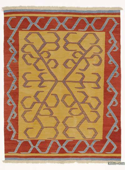 Yellow, Red New Turkish Kilim Rug