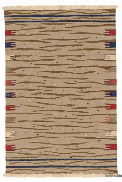 "New Handwoven Turkish Kilim Rug - 3'7"" x 5'4"" (43 in. x 64 in.)"