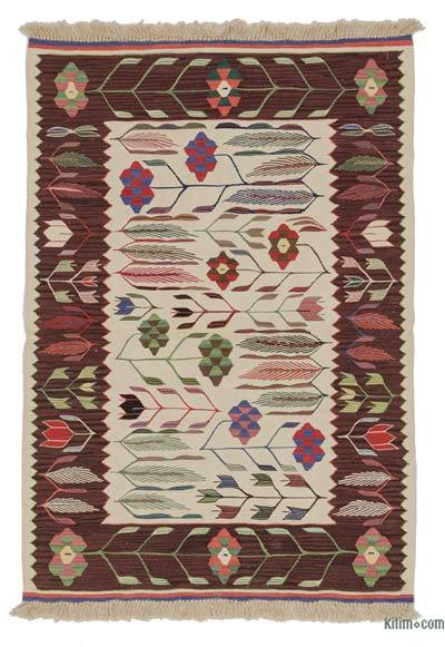 Beige, Red New Turkish Kilim Rug