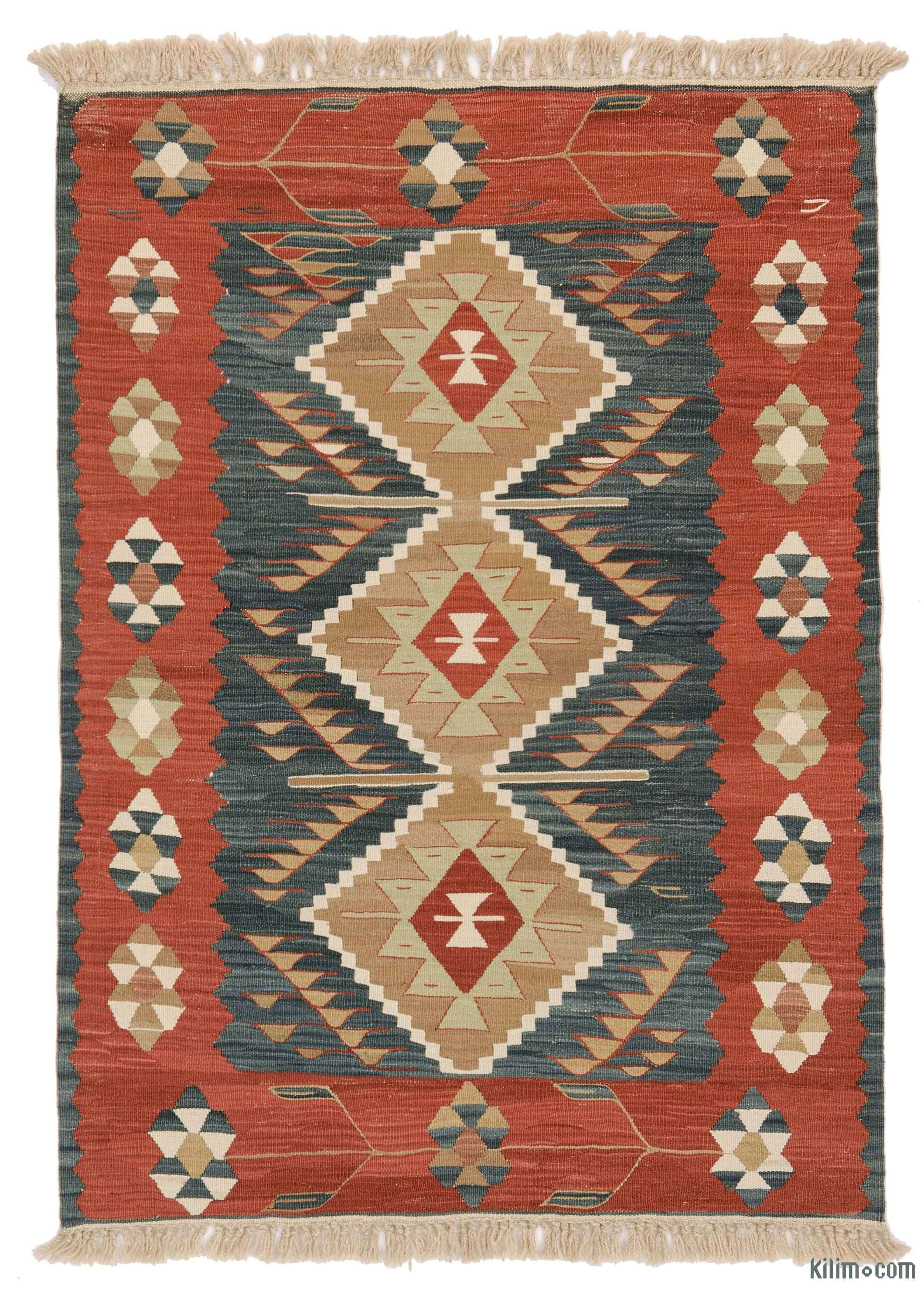 Blue Red New Turkish Kilim Rug