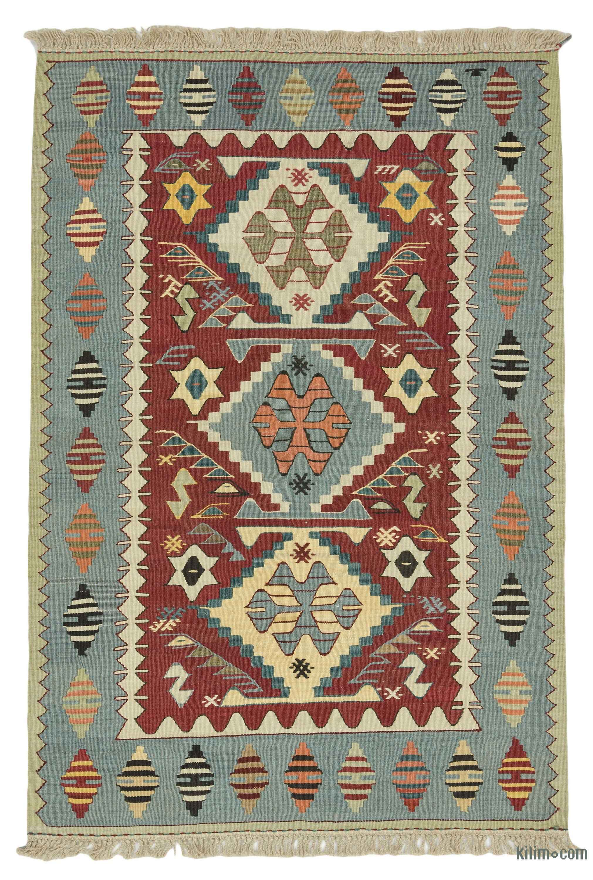 Red Light Blue New Turkish Kilim Rug