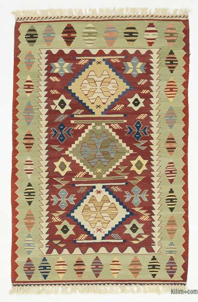 Red, Green New Turkish Kilim Rug