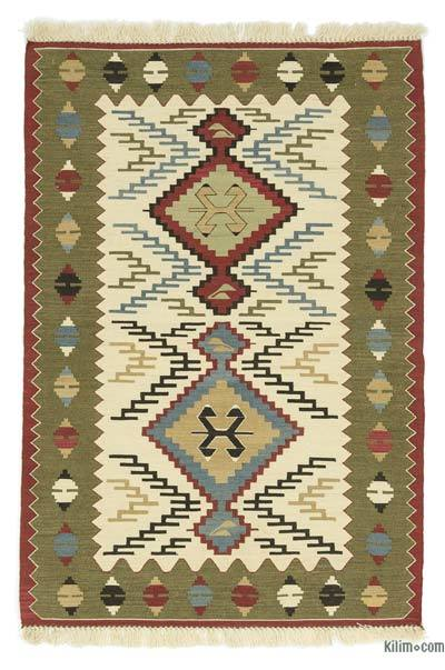 Beige, Green New Turkish Kilim Rug