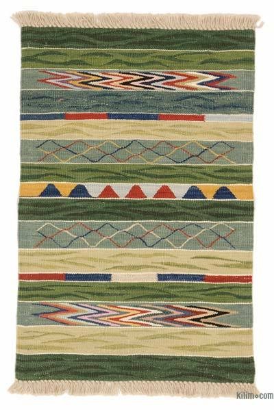 Green, Multicolor New Turkish Kilim Rug