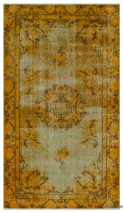 Yellow Over-dyed Turkish Vintage Rug - 3'9'' x 6'7'' (45 in. x 79 in.)