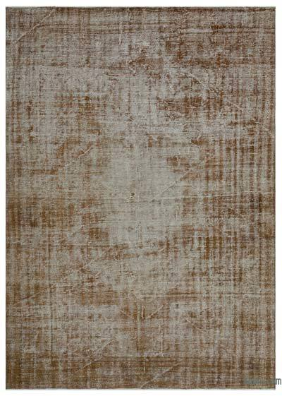 Brown Over-dyed Turkish Vintage Rug - 6'8'' x 9'1'' (80 in. x 109 in.)
