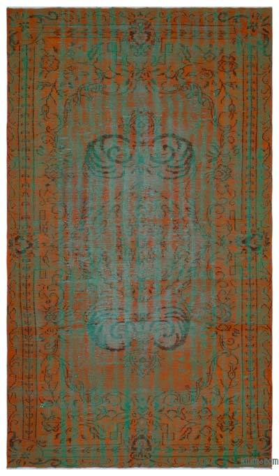 Orange, Green Over-dyed Turkish Vintage Rug - 6' x 10'1'' (72 in. x 121 in.)