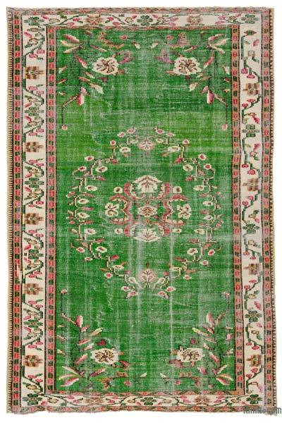 Green Turkish Vintage Area Rug - 5'3'' x 8'1'' (63 in. x 97 in.)