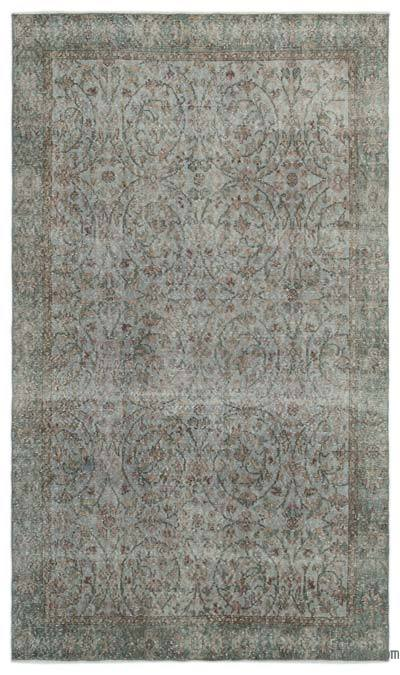 Grey Over-dyed Turkish Vintage Rug - 5'8'' x 9'8'' (68 in. x 116 in.)