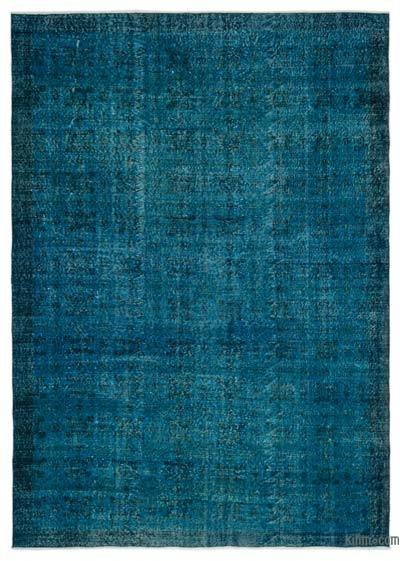 Turquoise Over-dyed Turkish Vintage Rug - 7'1'' x 10'1'' (85 in. x 121 in.)
